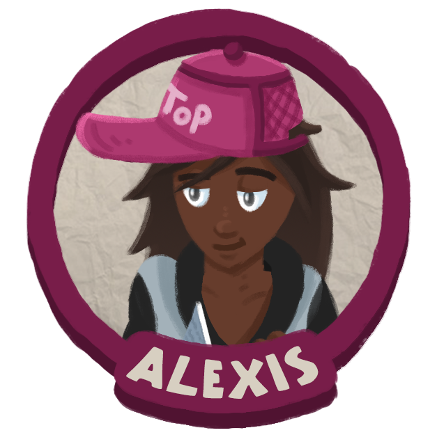 Alexis' portrait.  She has a hat that says 'top' on it.