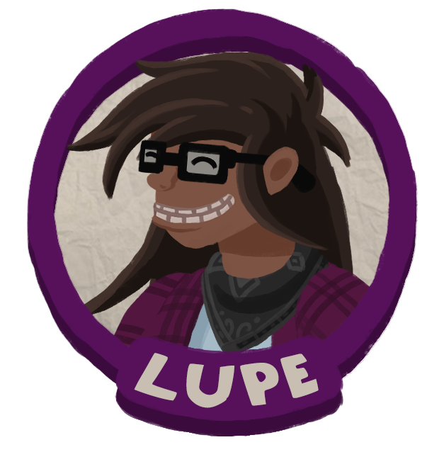 Lupe's Portrait, a long haired butch woman with a goofy grin.