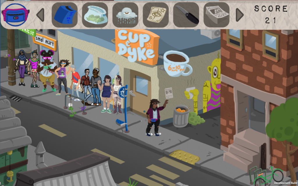 In front of a busy brunch line, Lupe is placing a flier.  There's a line of characters waiting to go inside to eat.