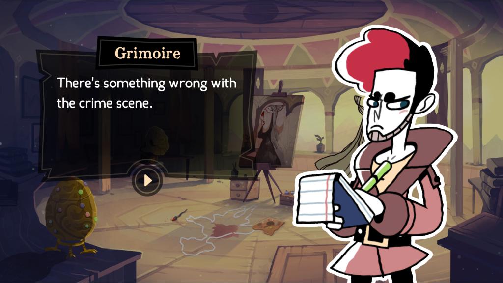 A screenshot showing Detective Grimoire talking