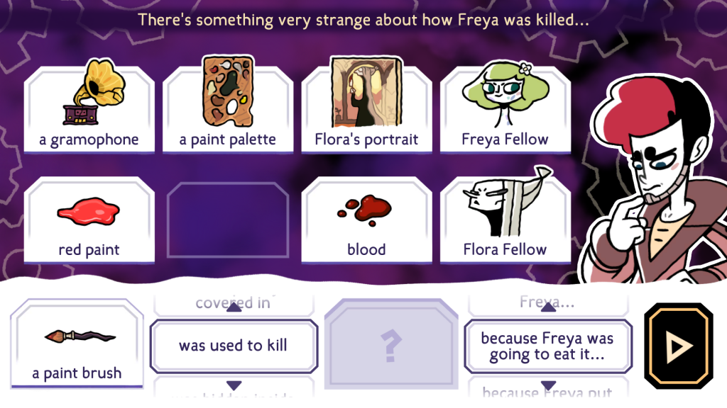 A screenshot showing a sentence-building puzzle