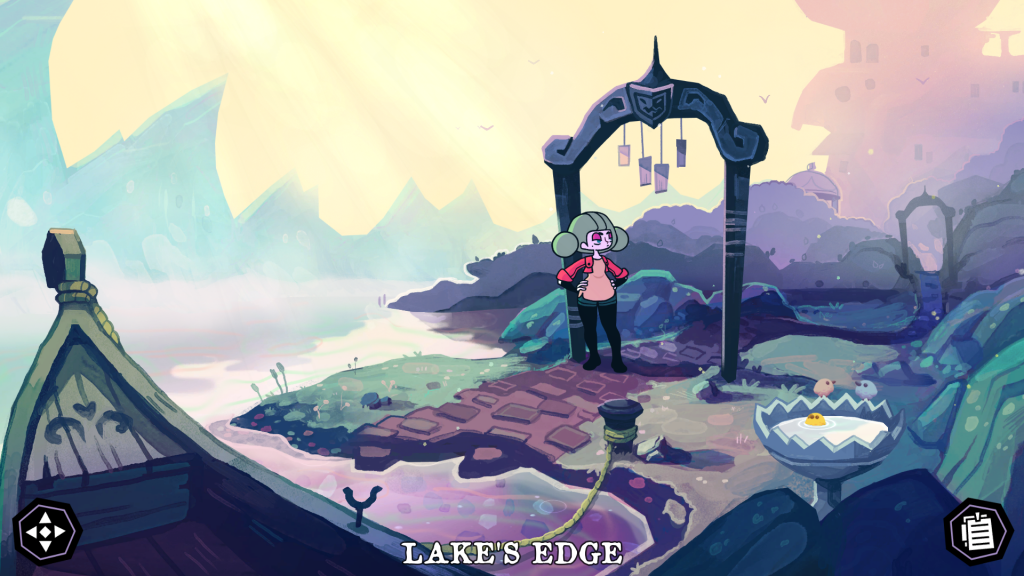 A screenshot showing Sally standing at the Lake's Edge