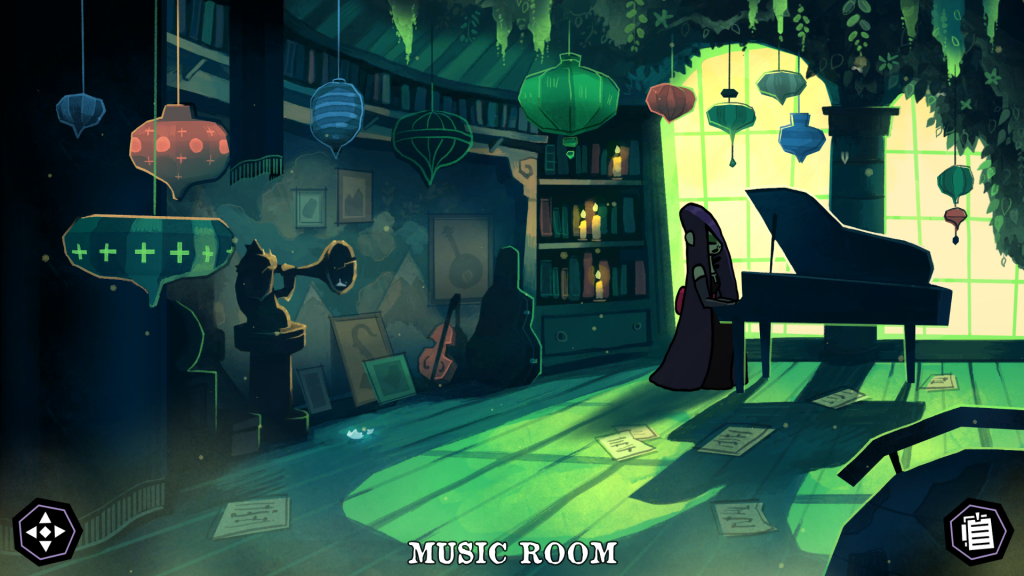 A screenshot showing Poppy sat playing the piano in the Music Room