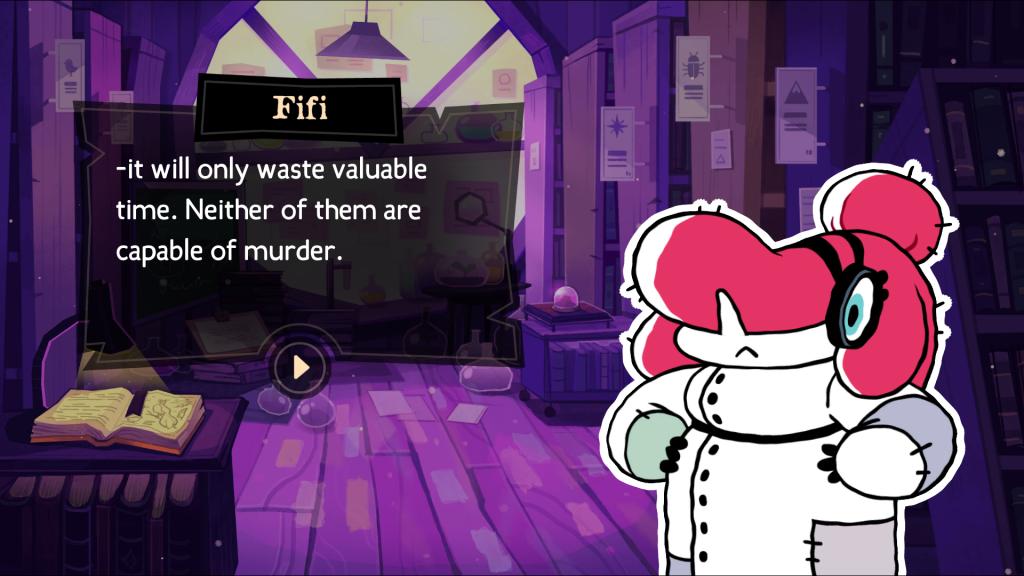 A screenshot showing Fifi talking