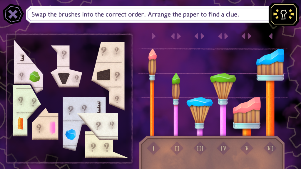 A screenshot showing a paintbrush puzzle