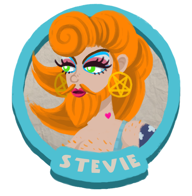 Stevie's portrait.  She's a red head with a beard and blue eyeshadow.